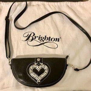 Brighton Black Leather Mini-Crossbody/Clutch Bag